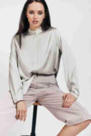 Блузка с воротником стойкой из искусственного шелка цвета шалфей
