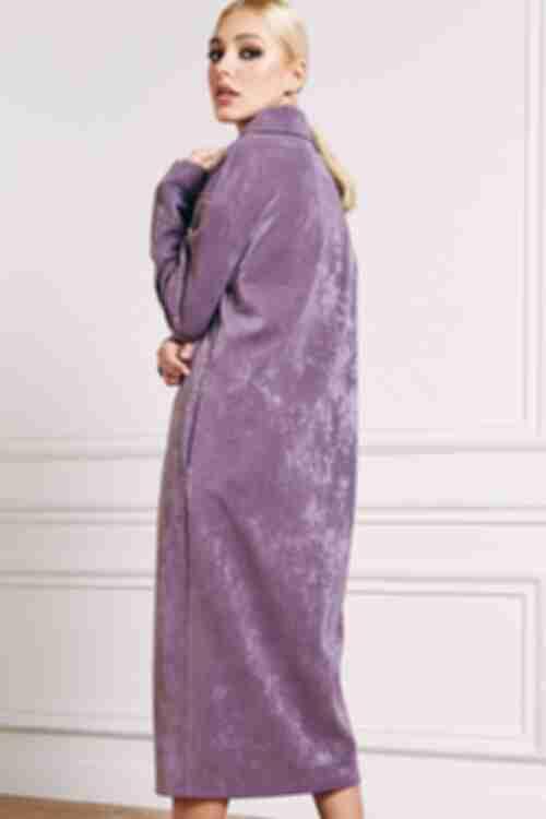 Платье трикотажное на замке лавандовое