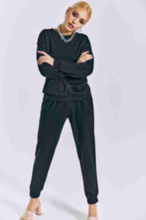 Костюм трикотажный свитшот и брюки черный