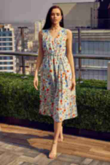 Платье до колена на запах креп-вискоза весенние цветы на мятном