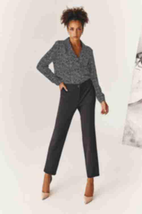 Женские прямые брюки из костюмной ткани черные
