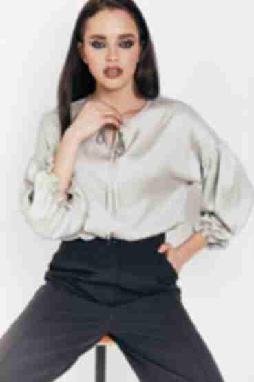 Блузка с завязкой из искусственного шелка цвета шалфей