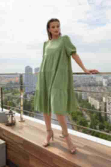 Платье ярусное миди травяное