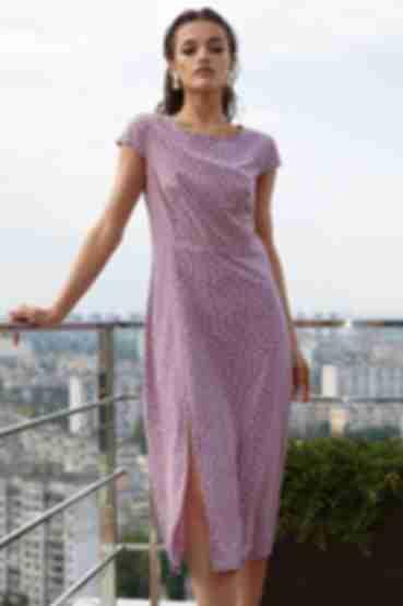 Платье с разрезом молочный горох на сиреневом