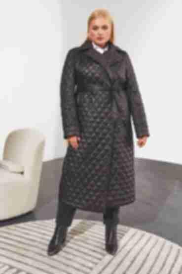 Черное удлиненное пальто на запах большой размер