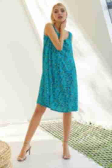 Платье майка веточки на бирюзовом