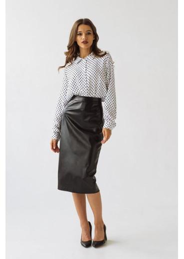 Женская юбка-карандаш из эко-кожи черного цвета