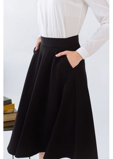 Черная юбка миди полусолнце