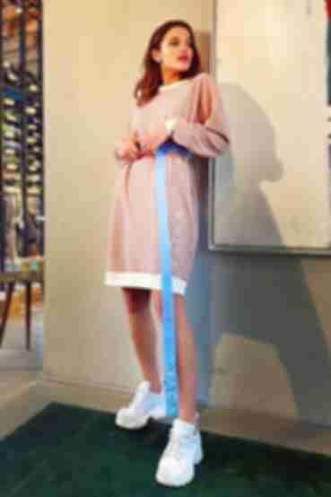 Фрезовое платье свитшот из трикотажа