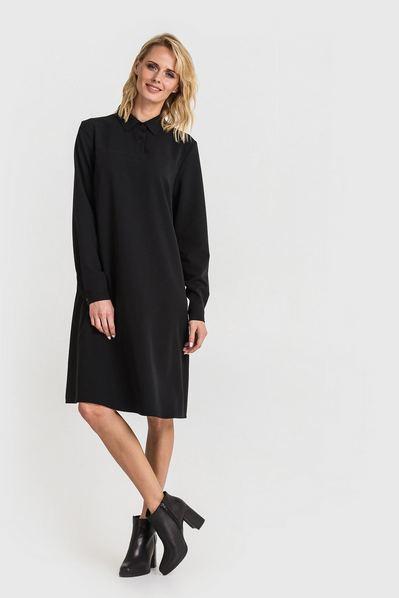 Черное платье рубашка из костюмной ткани