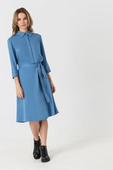 Деми платье-рубашка с юбкой-трапецией цвета ниагара