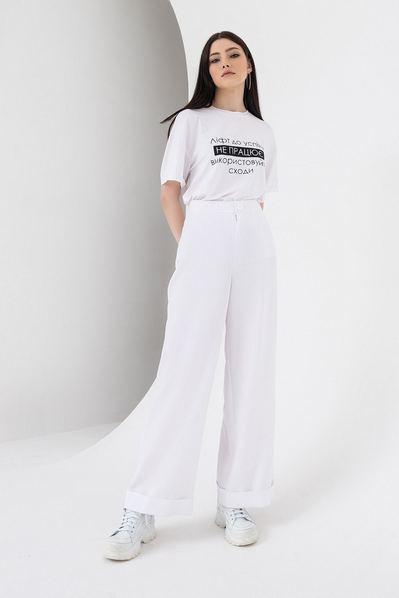 Белые брюки клеш из костюмной ткани