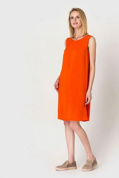 Оранжевое платье майка из штапеля
