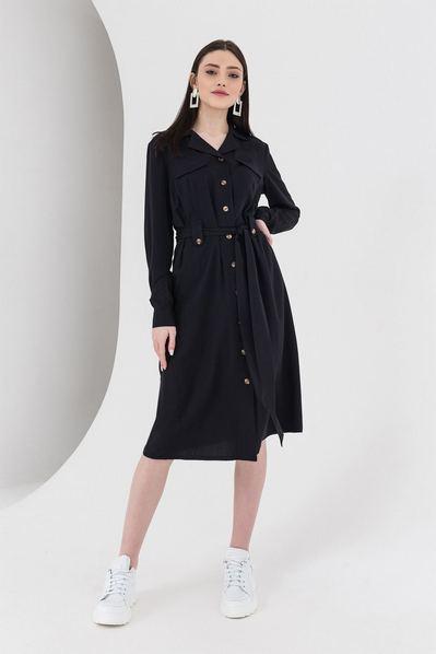 Черное платье-рубашка с поясом до колен плотный штапель