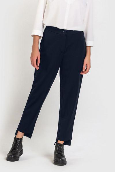 Синие брюки с ассиметричным низом