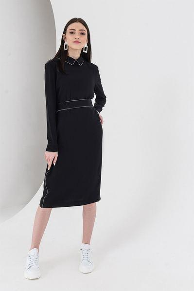 Черно-белое платье до колен с кантом