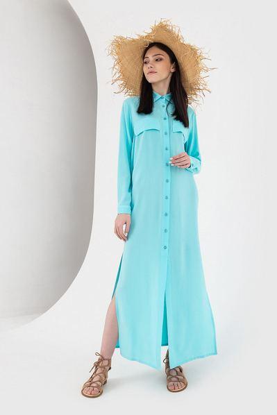 Длинное платье-рубашка с накладными карманами бирюзового цвета