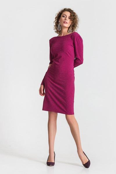 Трикотажное платье с открытой спиной приталенное сливовое