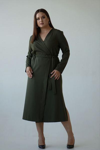 Платье на запах с разрезами оливкового цвета большой размер
