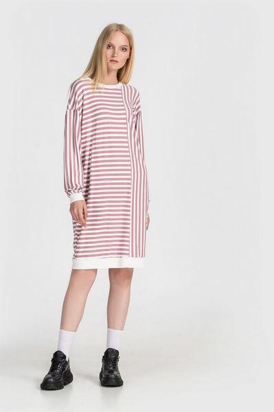Трикотажное платье свитшот фрезово-молочная полоска