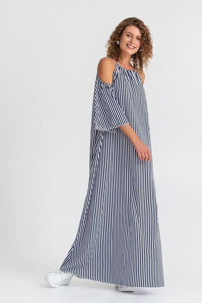 Длинный сарафан синий в белую полоску с открытыми плечами