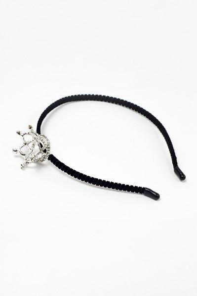 Черный обруч для волос с короной со стразами в ассортименте