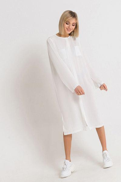 Штапельное платье рубашка миди молочное
