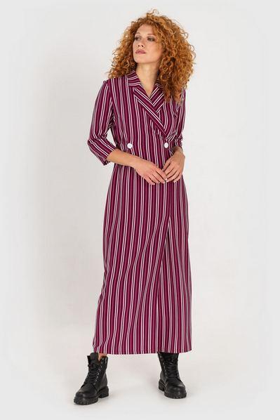 Длинное платье с воротничком ягодное в молочную полоску