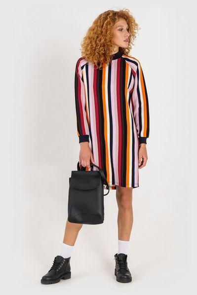 Разноцветное платье свитшот до колена в полоску