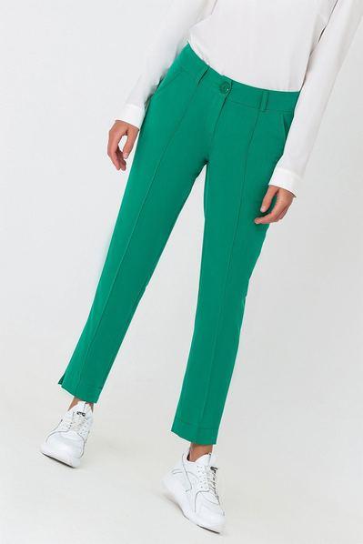 Женские брюки классические со стрелкой травяные