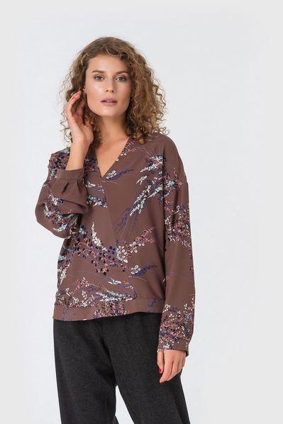Блузка на запах принт веточки на фрезовом