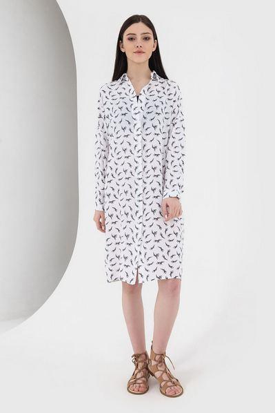 Платье-рубашка до колен рыбки на молочном