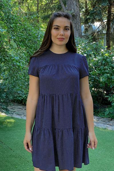 Ярусное платье молочный горох на темно-синем