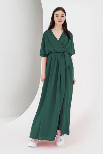 Длинное платье с разрезами темно-изумрудное