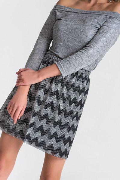 Короткая юбка плиссе зигзаг серебристо-черная