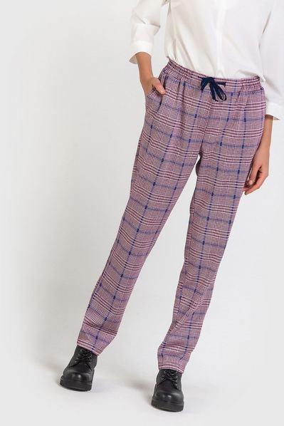 Теплые брюки в синюю клетку на фрезовом