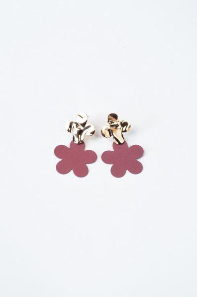 Серьги двойные цветы розово-золотистые