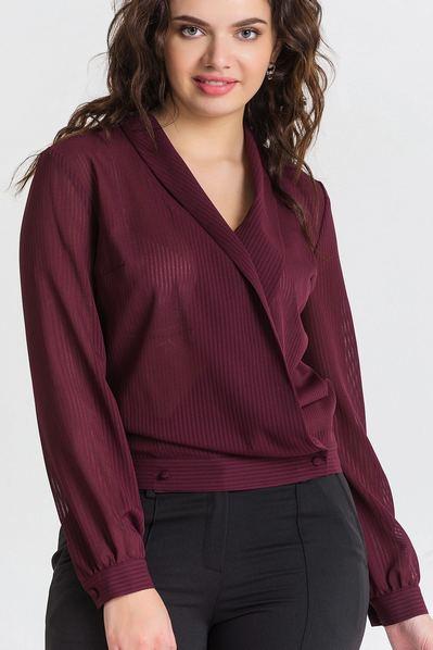 Блуза с запахом из шифона в полоску темный бургунди большой размер