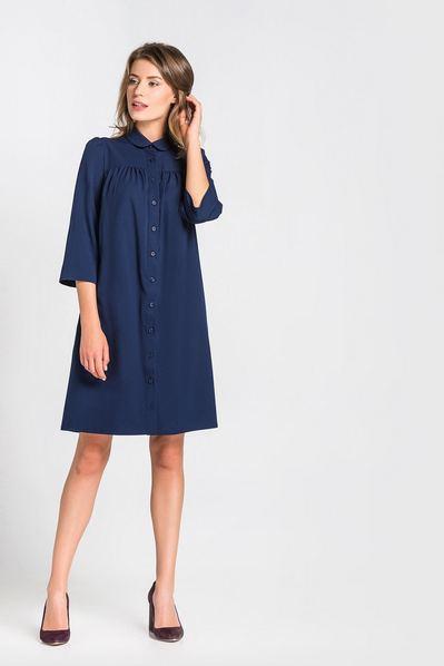 Платье миди с закругленным воротничком из твила темно-синее