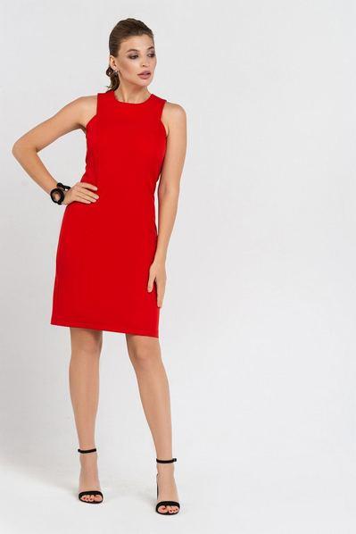 Красное платье футляр мини из костюмной ткани