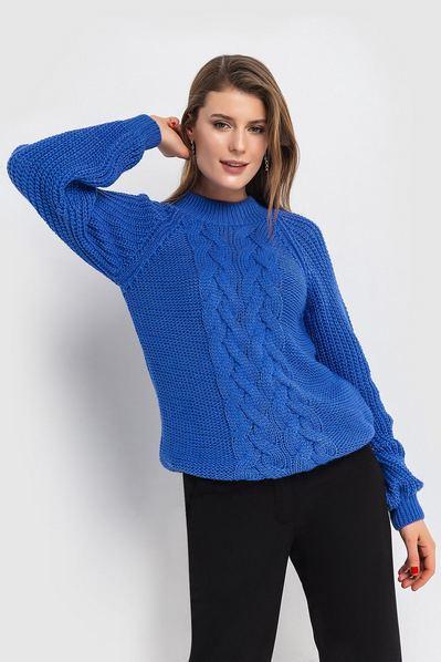 Женский свитер вязаный косичкой лазурный