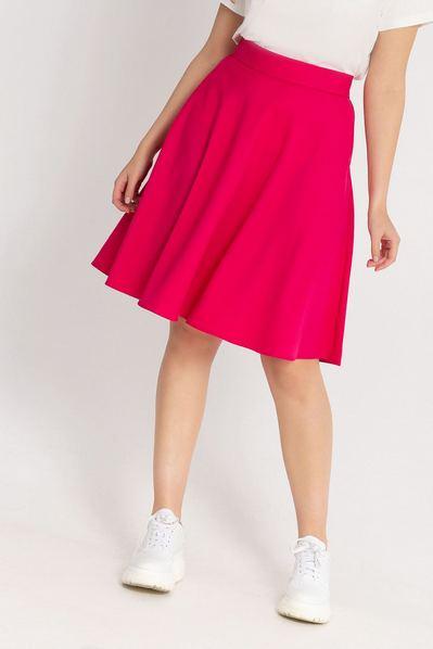 Ярко-розовая юбка полусолнце из костюмной ткани большой размер