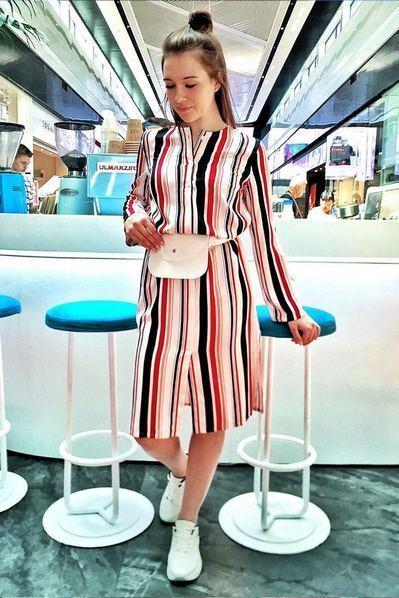 Миди платье рубашка с разрезами в черно-ягодную полоску