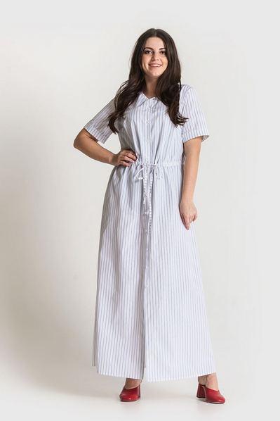 Длинное платье в полоску синюю на белом фоне большой размер