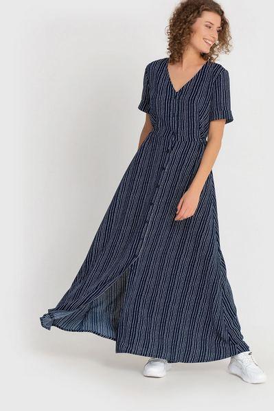 Темно-синее платье макси с планкой и молочными волнами