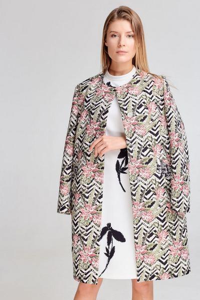 Летнее пальто без воротника с тропическим принтом цветы