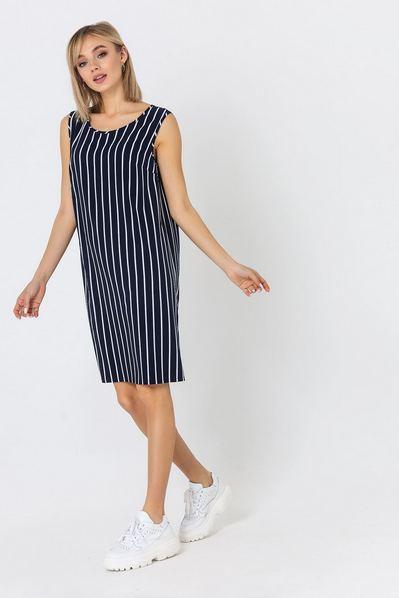 Темно-синее платье майка в белую полосу