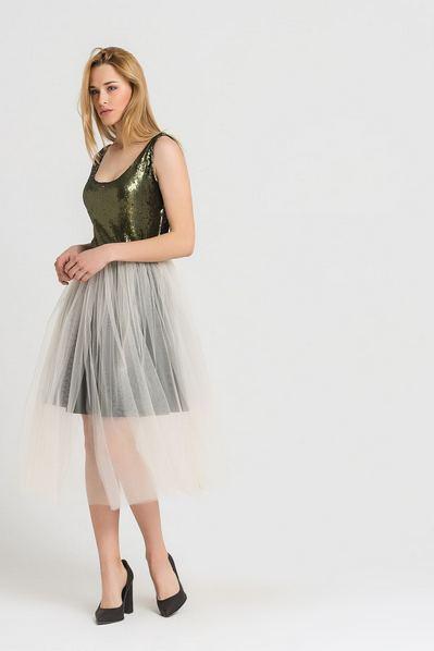 Платье майка миди оливково-молочное