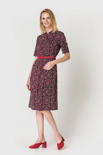 Штапельное платье рубашка до колен с восточным принтом красно-небесное