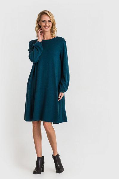 Трикотажное платье из ангоры темно-бирюзовое